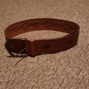 Fossil Western Studded wide leather belt N…